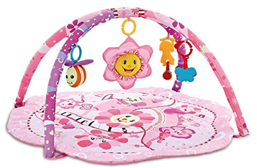 Baby Play Mat, Play Gym, Activity Gym for New Born Babies and Toddlers,Soft Toys Include Honeybee,Sunflower,Butterfly. Suitable from Birth