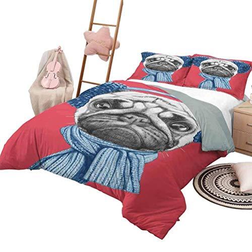 Pug Bedding Comforter Sets Dibujo detallado para perros con bufanda Orejeras sobre fondo de coral oscuro Fun Animal Fundas nórdicas de lujo Shaggy Set Coral oscuro turquesa con 2 fundas de almohada, K