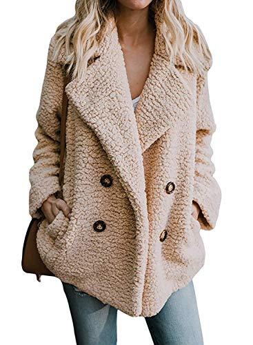 RUNYA Women's Casual Open Front Faux Fleece Coat Oversized Teddy Jacket Cardigan Warm Winter (Khaki, X-Large)
