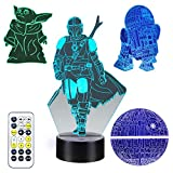 Star Wars 3D Illusion Lamp for Kids, 4 Patterns 3D Night Light with Timing Remote Control and 16 Color Change, Star Wars Mandalorian Baby Yoda Toys for Boys Men Kids Fans