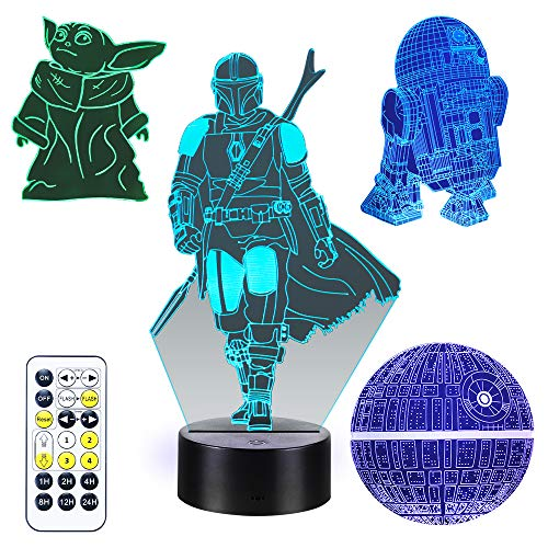 Star Wars 3D Illusion Lamp for Kids, 4 Patterns 3D Night Light with Timing Remote Control and 16 Color Changing Decor lamp, Star Wars Toys Birthday and Chrismas Gifts for Boys Men Kids Fans