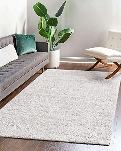 Carpeto Rugs Tapis Salon 200 x 300 cm - pour Le Salon, la Chambre à Coucher, la Salle à Manger - Shaggy uni de Couleur Poil Long Grande Taille Beige