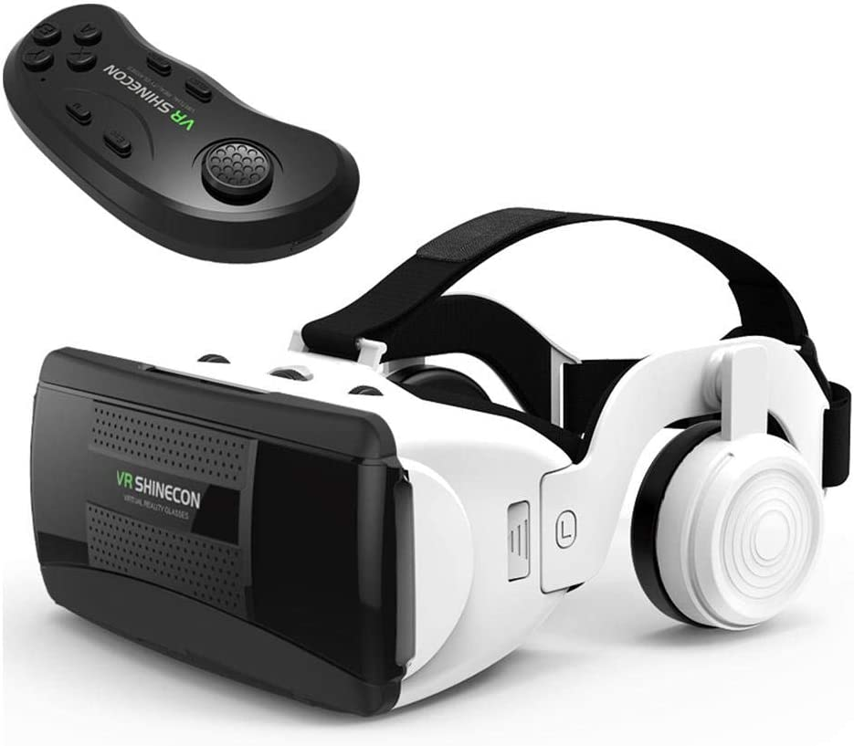 VR Headset Compatible with iPhone and Android Phone, 3D Virtual Reality Goggles with Controller, Adjustable VR Glasses w/Eye Protection, Gift for Kids and Adults