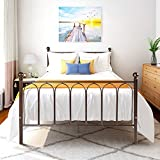 Full Size Metal Platform Bed Frame Mattress Foundation /Box Spring Replacement with Headboard Footboard (Full, Brown)