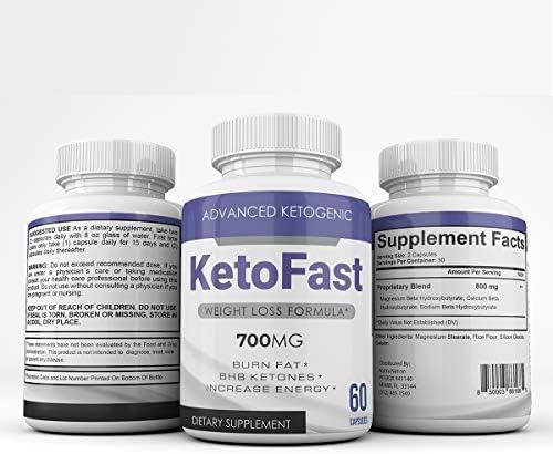 Keto Fast Advanced Ketogenic Weight Loss Formula 700MG Burn Fat BHB Ketones Increase Energy product image