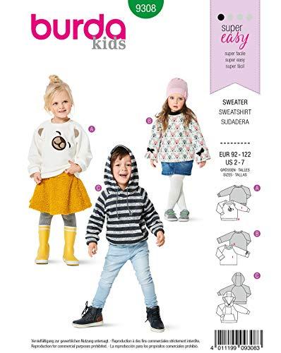 Burda Schnittmuster 9308, Sweater [Unisex (Kids) 92-122] zum selber nähen, ideal für Anfänger [L1]