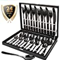 Silverware Set, HOBO 24 Pieces Flatware Cutlery Set, German Stainless Steel Dinnerware Set, Heavy-Duty Utensils Knife, Fork and Spoon Set with Box, Service For 6