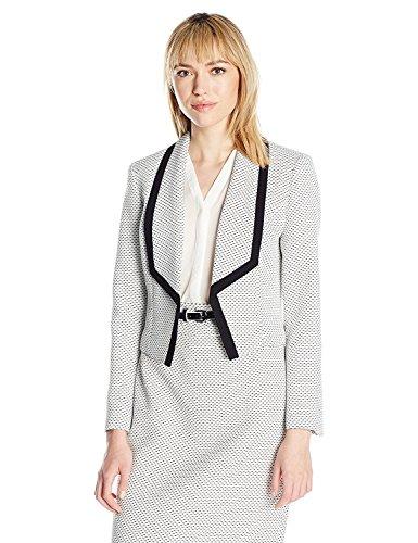 NINE WEST Women's Tweed Shawl Collar Kiss Front Jacket