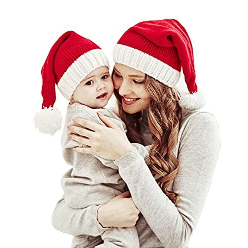 Familia de coincidencia de Navidad sombrero de la madre y el bebé de punto de la gorra de Navidad padre-niño Pom Pom Beanie sombrero invierno calentador de Santa sombreros ganchillo rojo