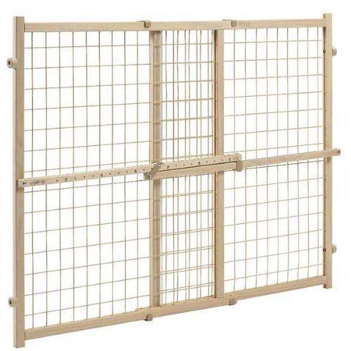 Position & Lock? Plus Gate, Clear Wood/Beige Mesh