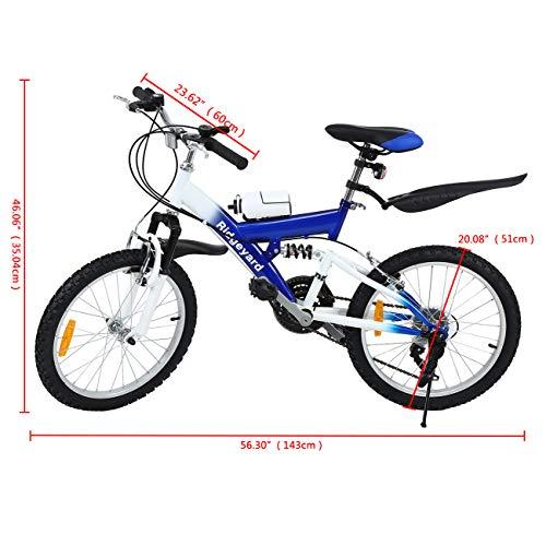 MuGuang 6 Vitesses 20 Pouces Enfant Vélo de Montagne Venez avec Bouilloire 500cc pour Les Enfants de 7 à 12 Ans (Bleu)