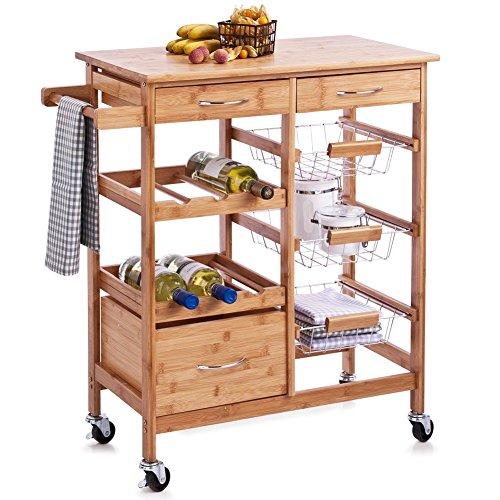 Bakaji Küchenwagen aus Bambusholz mit Ablage mit 2 Ablagefächern, 2 Ablagefächern für die Aufbewahrung von Küchenutensilien mit 3 Flaschenkörben und Obstkorb, aus Metall, 4 Rädern, Tragfähigkeiten
