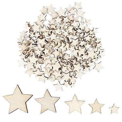 Holzsterne zum Basteln und Dekorieren | 5 verschiedene Größen | Sterne aus Holz | 1 cm bis 3 cm | naturfarben | 250 Stück | Ideal als Weihnachts-Deko, Tischdeko, Streudeko