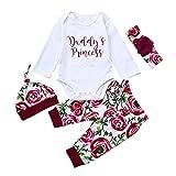 Sayla Baby Strampler, Neugeborenes Baby Mädchen Outfits Spielanzug + Hose + Hut und Haarband Set 4 Stück, Daddy Princess Strampler Kleidung Weiß Set mit Stirnband und Hut