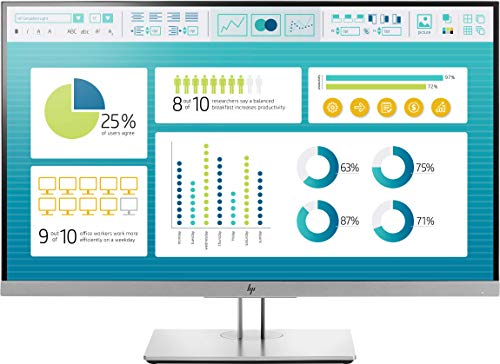 HP EliteDisplay E273 (27 Zoll / Full HD) Business Monitor (HDMI, VGA, DisplayPort, USB 3.0, Pivotfunktion, Reaktionszeit 5ms, 60Hz) silber/schwarz