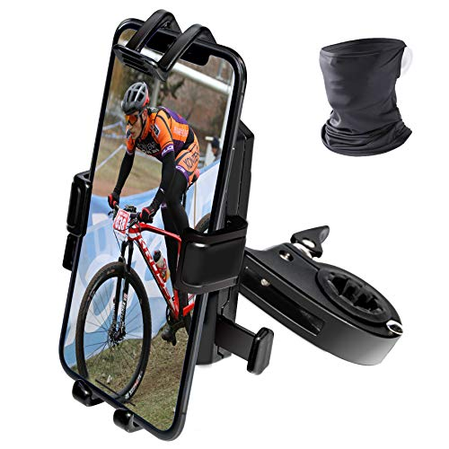 Moveon Premium - Soporte universal de aluminio para bicicleta, moto, scooter, cochecito, antivibración y fácil montaje, iPhone 12 11 XR 8 7 Samsung Galaxy S8 S9 S10 Huawei P9 P10 Mate 20