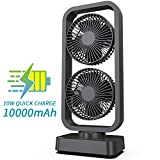 OPOLAR Portable Battery Operated Desk Fan with Superpower Battery (10000mAh), Cordless Rechargeable USB Camping Fan with Fast Air Circulation, 6-24 Hours, 10W Fast Charging, Aesthetic Design - 16Inch