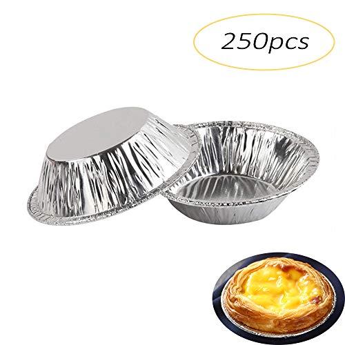 Ei Tart Form 250 Pcs/Set, Einweg Aluminiumfolie Tassen,Pappbecher Hüllen für Ofen, Mikrowelle, Dampfgaren, Gefrieren (Silber)