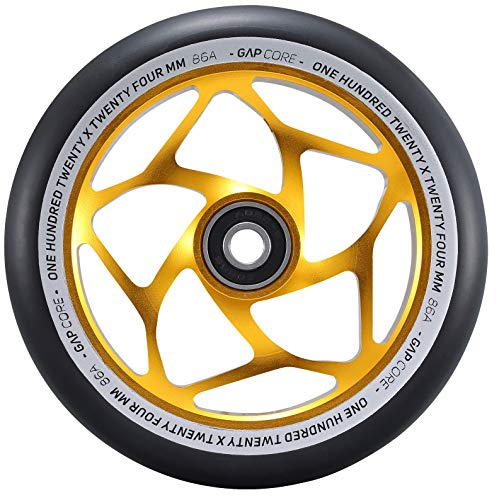 Blunt Gap Core Stunt-Scooter Rolle Abec9 Wheel 120mm +Fantic26 Sticker (Gold/Pu Schwarz)