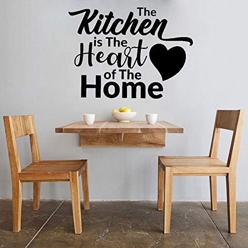 Vinilo texto etiqueta de la pared cocina hogar corazón cocina pared calcomanía hogar creativo decoración de interiores