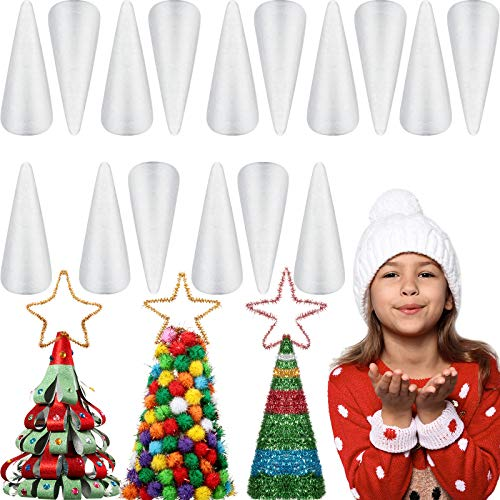 16 Pieces White Foam Cones Arts and Crafts Supplies for Home DIY Handmade Crafts Projects Christmas Tree, Table Centerpiece Cone Shape Foam