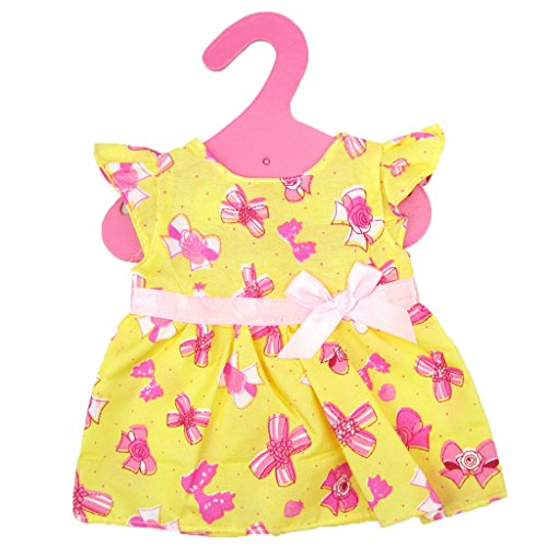 1x Süße Puppen Kleidung Kleider Puppen Outfit Puppen Dirndl für Puppen - Gelb, 19cm
