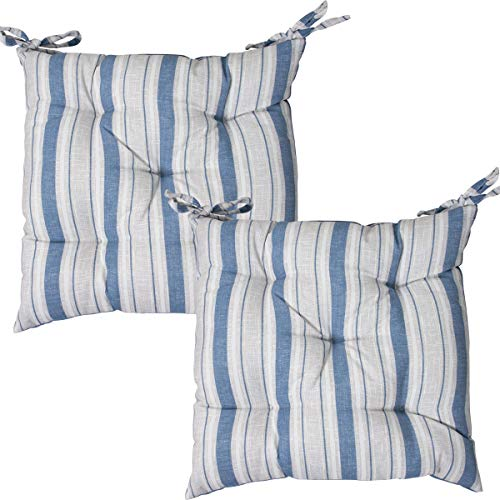 Viste tu hogar Pack 2 Cojines para Silla, 40x40 CM, Relleno de Algodón con Diseño de Rayas, Cómodas y Suaves, Ideal para la Decoración de Cocina y Sala, Color Azul.