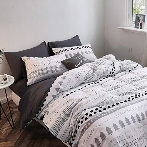 yaonuli Vierdelig, modern zijdedruk bed uit vier delen, witte beer, 1,5 m (5 voet)