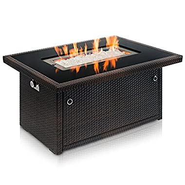Outland Living Series 401 Brown 44-Inch Outdoor Propane Gas Fire Pit Table, Black Tempered Glass Tabletop w/Arctic Ice Glass Rocks and Resin Wicker Panels, Espresso Brown/Rectangle
