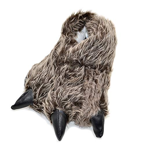 Millffy Funny Slippers Grizzly Bear Stuffed Animal Furry Claw Paw Slippers Toddlers, Kids & Adults Costume Footwear (Small – (Little Kids), Silver Timber Wolf)