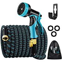 Kingtaily Expandable Garden Hose 50ft, Flexible Water Hose with 9 Function Nozzle and Durable 3-Layers Latex