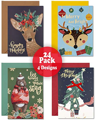 """GreetInk Assorted Christmas Cards Boxed With Matching Envelopes -4 Beautiful Designs Gold Foil Thick Bleed-Resistant Cards - 24 Sets Holiday Cards Size 4"""" x 6'"""