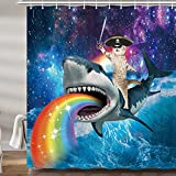 Funny Pirate Cat Shower Curtains for Bathroom, Cool Cat Riding Shark Whale in Universe Galaxy Hilarious Kids Bath Curtain Set, Fabric Accessories Restroom Decor 12 Hooks Included (69' W X 72' H)