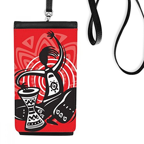 Tambourine Outline Celebrate Mexico Mexican Phone Wallet Purse Hanging Mobile Pouch Black Pocket
