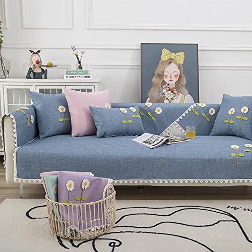 KENEL Funda Elástica para Sofá, Funda Sofa Ajustables Forma L,sofá Funda de sofá 3 2 4 1 Plaza,Cojín de sofá de Encaje de Tela de Cuatro temporadas-90 * 210cm_Azul-a-Vendido en Pedazos