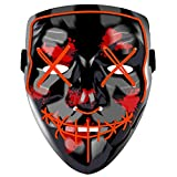 Halloween Scary Mask,LED Light Up Purge Mask,Co-splay Costume Mask for Festival Red