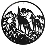 Wolf Pack | Wildlife Hunting | Outdoor Metal Wall Art Decor | Garden Sculpture | Exterior Interior Large Decorative Hanging | Reconnect with Nature | Heavy Duty Design | Fence Gate Sign | 24' Diameter Black