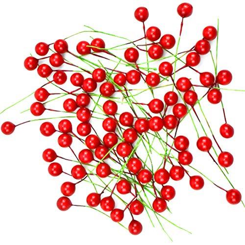 kissral 100pcs Plastikobst Kirschen Deko Rot KüNstlich Beeren Deko Obst für Küchen Girlande Festivalbedarf Party Esstisch Dekorationen DIY Handwerk