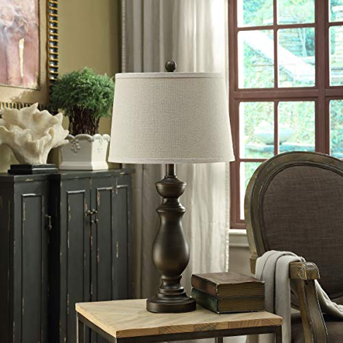 Crestview Collection Tempe 27.5 Inch Traditional Metal Oil Rubbed Bronze Table Lamp for Living Room, Bedroom and Home Office
