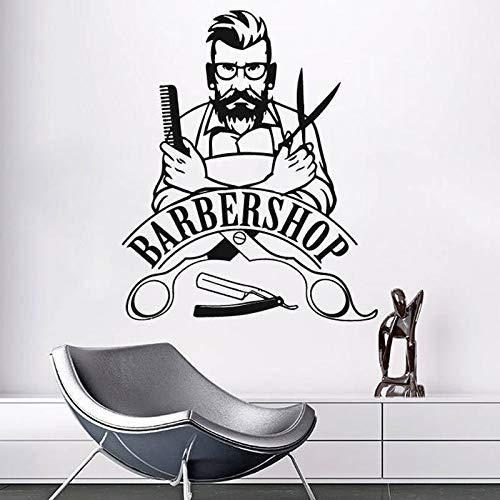 hllhpc Peluquería Signo Tatuajes de Pared Logotipo de barbería Hipster Etiqueta de la Pared Decoración Salón de Belleza Mural Peluquería Wallpaper57 * 69 cm