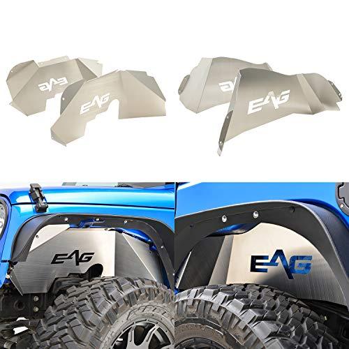 EAG Front + Rear Inner Fender Liner Wells Silver Aluminum 4PCS for 07-18 Jeep Wrangler JK