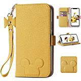 Homelax iPhone 12 Wallet Case for Women, iPhone 12 Pro Flip Cover with Strap for Girls, Cute Case Premium Leather Shockproof TPU with Card Holder Kickstand for iPhone 12/12 Pro 6.1 inch Yellow