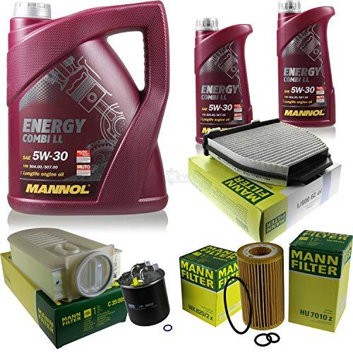 QR-Parts Set 85506003 MN7907-5 FP 29 005/1 C 35 005 WK 820/2 x MN7907-1 HU 7010 z Paquete de inspección 7 L Energy Combi LL 5W-30 + paquete de filtros MANN 10930244