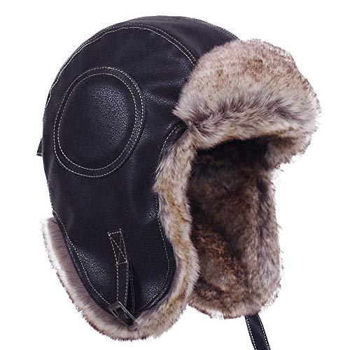 Russian Trapper Soviet Ushanka Bomber Hat - Leather Earflap Fur Lined Winter Cap for Men Women (Black/Leather, US L (7 3/8~7 1/2))