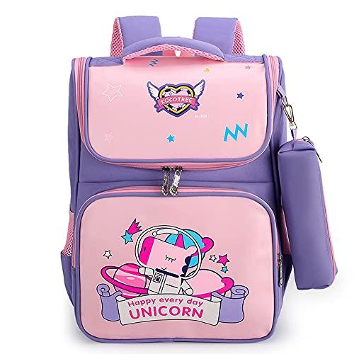 jwj Bolsas escolares impermeables para niños y niñas, mochila de escuela primaria, mochila ortopédica, mochila escolar infantil (color: púrpura)