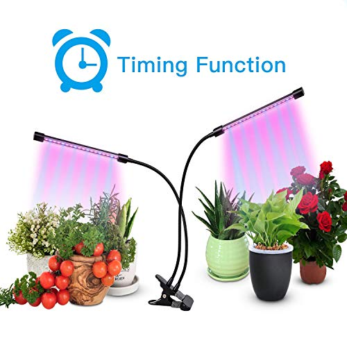 Plant Grow Light,Grow Lights for Indoor,Dual Head Timing Grow Lamp,40 LED Chips with Red/Blue Spectrum,360 Degree Adjustable Gooseneck,5 Dimmable Levels,3/9/12H Timer,for Vegetative&Flowering