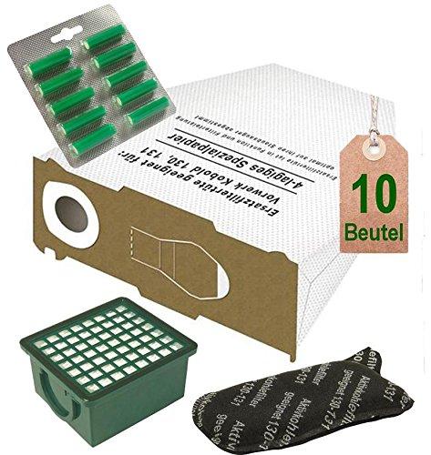 AVR-Handel Spar Angebot 10 weiße Staubsaugerbeutel Filter Set und Duft Tanne passend für Vorwerk Kobold VK 130, Kobold VK 131 und 131 SC mit EB 350 / EB 351