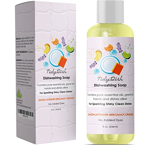 Liquid Dish Soap for Home and Kitchen Dishes - Natural Dishwashing Detergent with Lemon + Orange - Lavender + Bergamot Moisturize Hands - Remove Grease + Grime from Pots Pans + Tableware - Dye Free