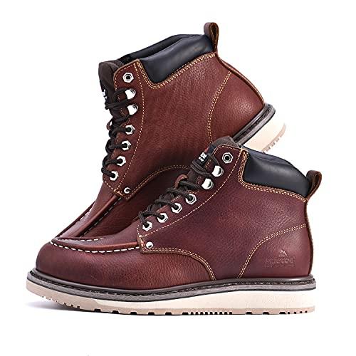 Safetoe Zapatos de Seguridad para Hombres y Mujeres, M-8076 Botas de Seguridad de Tipo Cuero Impermeable, Dedo del pie Moc Ligeros Calzado para Plantilla mas Comodas,EU 44