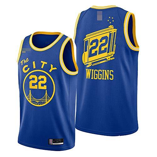 LYY Camisetas De Baloncesto para Hombre, NBA Golden State Warriors # 22 Andrew Wiggins, Chaleco Suelto Y Transpirable Uniformes Camisetas Sin Mangas De Confort Clásico,Azul,L(175~180CM)